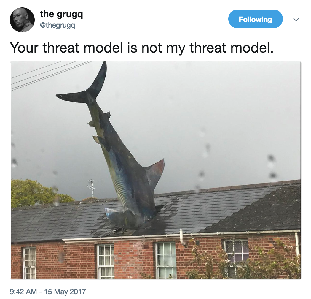 Your threat model is not my threat model by @thegrugq